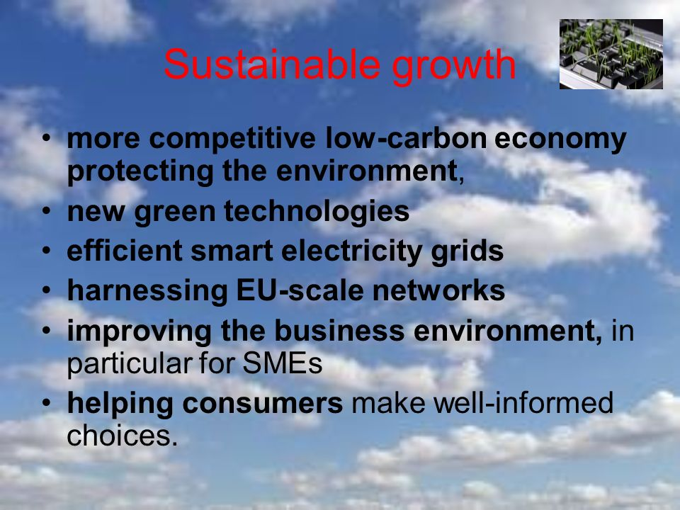 Sustainable growth more competitive low-carbon economy protecting the environment, new green technologies efficient smart electricity grids harnessing EU-scale networks improving the business environment, in particular for SMEs helping consumers make well-informed choices.