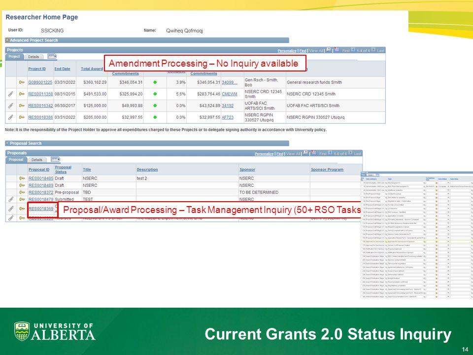 14 Current Grants 2.0 Status Inquiry Proposal/Award Processing – Task Management Inquiry (50+ RSO Tasks) Amendment Processing – No Inquiry available