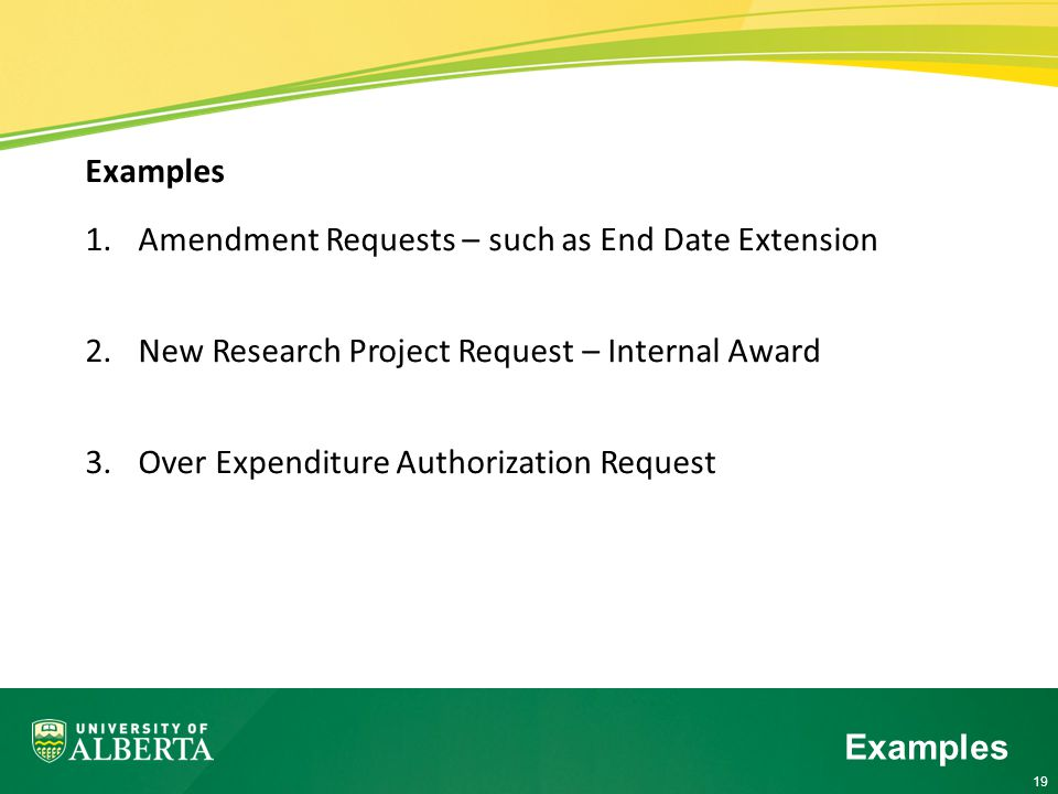 19 Examples 1.Amendment Requests – such as End Date Extension 2.New Research Project Request – Internal Award 3.Over Expenditure Authorization Request Examples