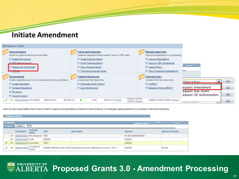 21 Initiate Amendment Proposed Grants Amendment Processing