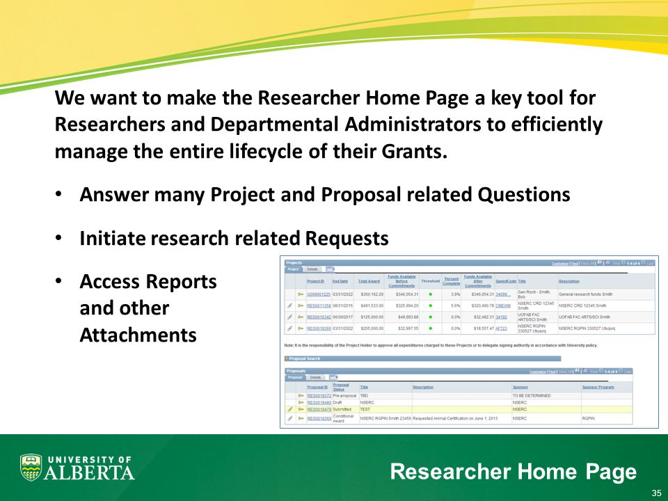 35 We want to make the Researcher Home Page a key tool for Researchers and Departmental Administrators to efficiently manage the entire lifecycle of their Grants.