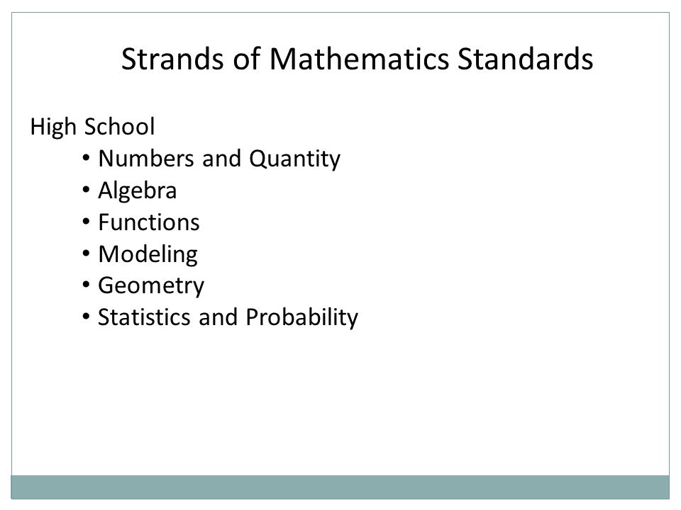 Strands of Mathematics Standards High School Numbers and Quantity Algebra Functions Modeling Geometry Statistics and Probability
