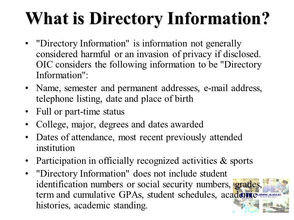 What is Directory Information.