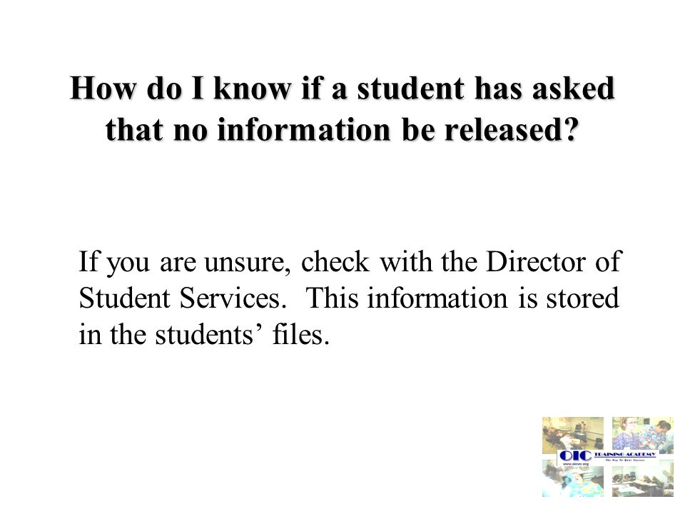 How do I know if a student has asked that no information be released.