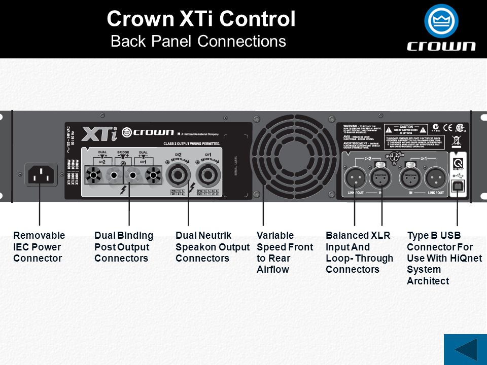Crown XTi Control Back Panel Connections Removable IEC Power Connector Dual Binding Post Output Connectors Dual Neutrik Speakon Output Connectors Balanced XLR Input And Loop- Through Connectors Type B USB Connector For Use With HiQnet System Architect Variable Speed Front to Rear Airflow