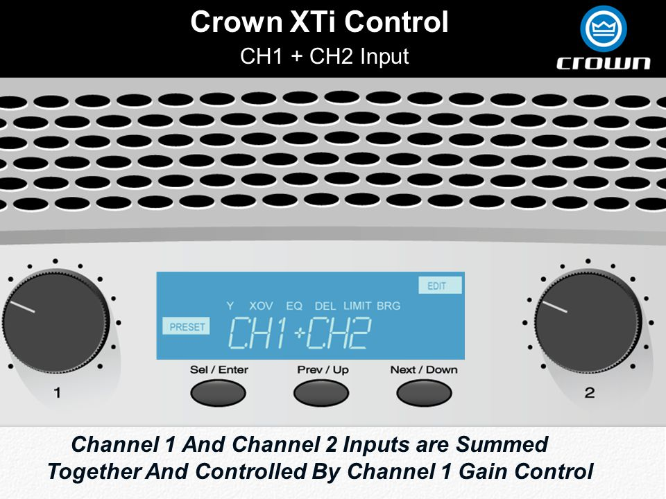 Click to edit Master title style Crown XTi Control CH1 + CH2 Input Channel 1 And Channel 2 Inputs are Summed Together And Controlled By Channel 1 Gain Control