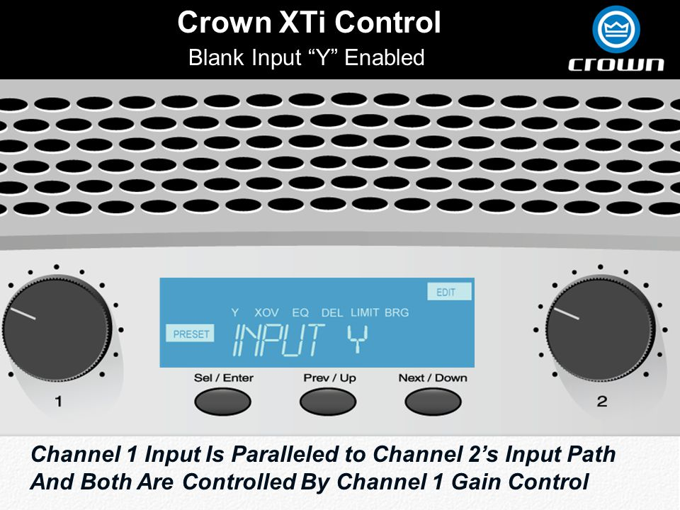 Click to edit Master title style Crown XTi Control Blank Input Y Enabled Channel 1 Input Is Paralleled to Channel 2s Input Path And Both Are Controlled By Channel 1 Gain Control