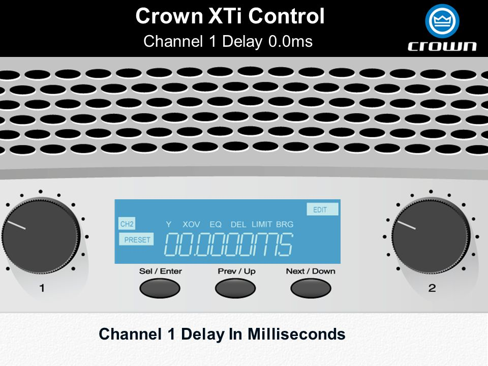 Click to edit Master title style Crown XTi Control Channel 1 Delay 0.0ms Channel 1 Delay In Milliseconds