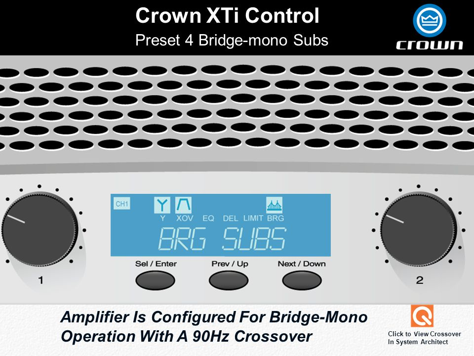 Crown XTi Control Preset 4 Bridge-mono Subs Amplifier Is Configured For Bridge-Mono Operation With A 90Hz Crossover Click to View Crossover In System Architect