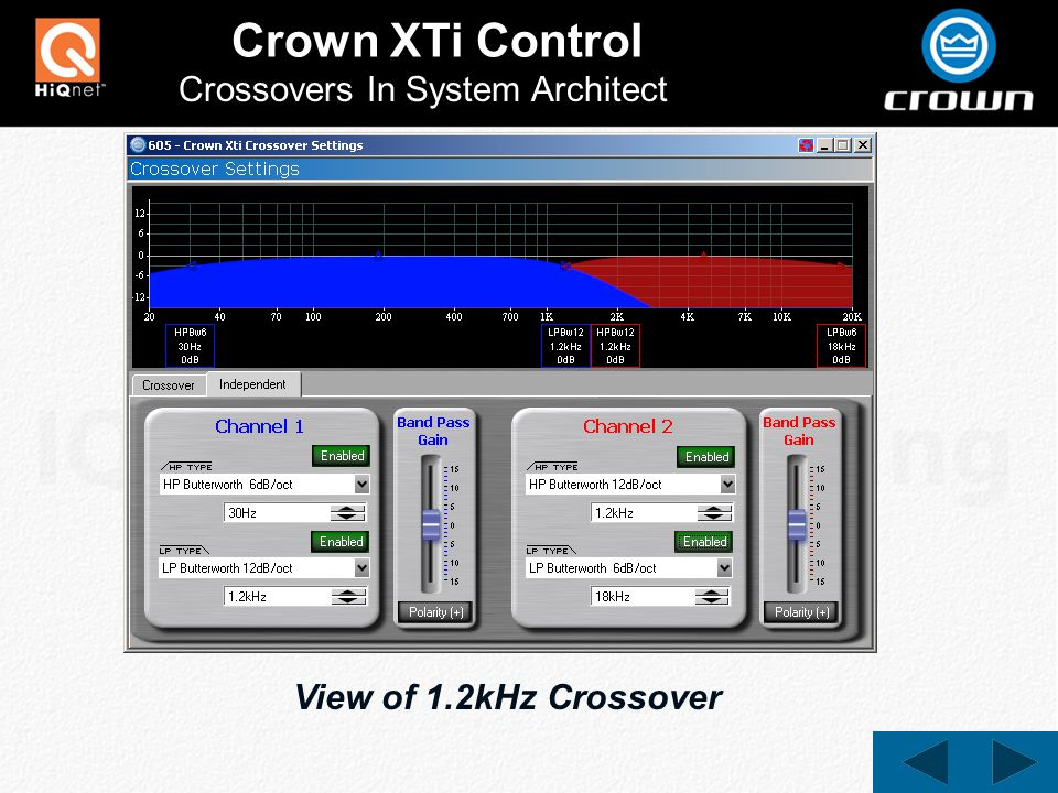 Crown XTi Control Crossovers In System Architect View of 1.2kHz Crossover