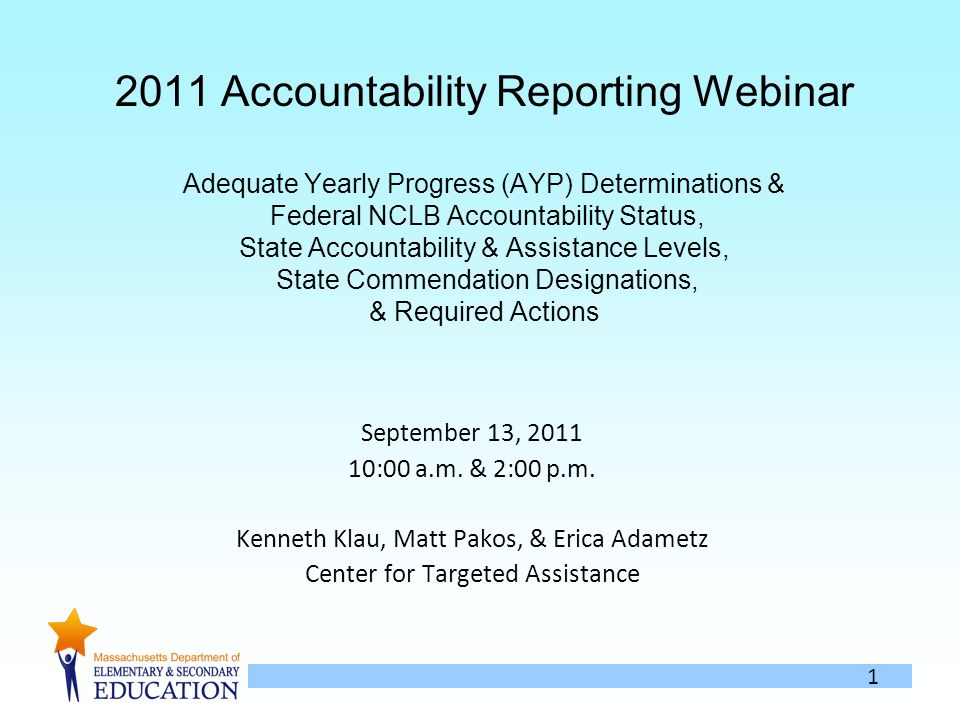 Accountability Reporting Webinar Adequate Yearly Progress (AYP) Determinations & Federal NCLB Accountability Status, State Accountability & Assistance Levels, State Commendation Designations, & Required Actions September 13, :00 a.m.