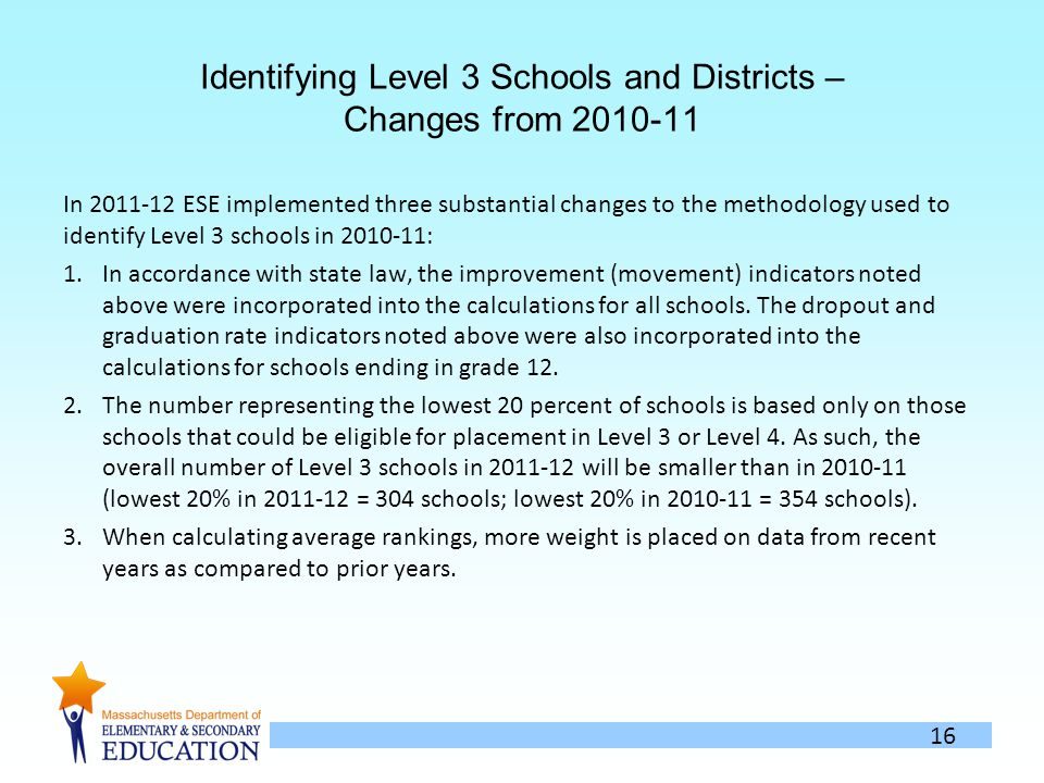 16 Identifying Level 3 Schools and Districts – Changes from In ESE implemented three substantial changes to the methodology used to identify Level 3 schools in : 1.In accordance with state law, the improvement (movement) indicators noted above were incorporated into the calculations for all schools.