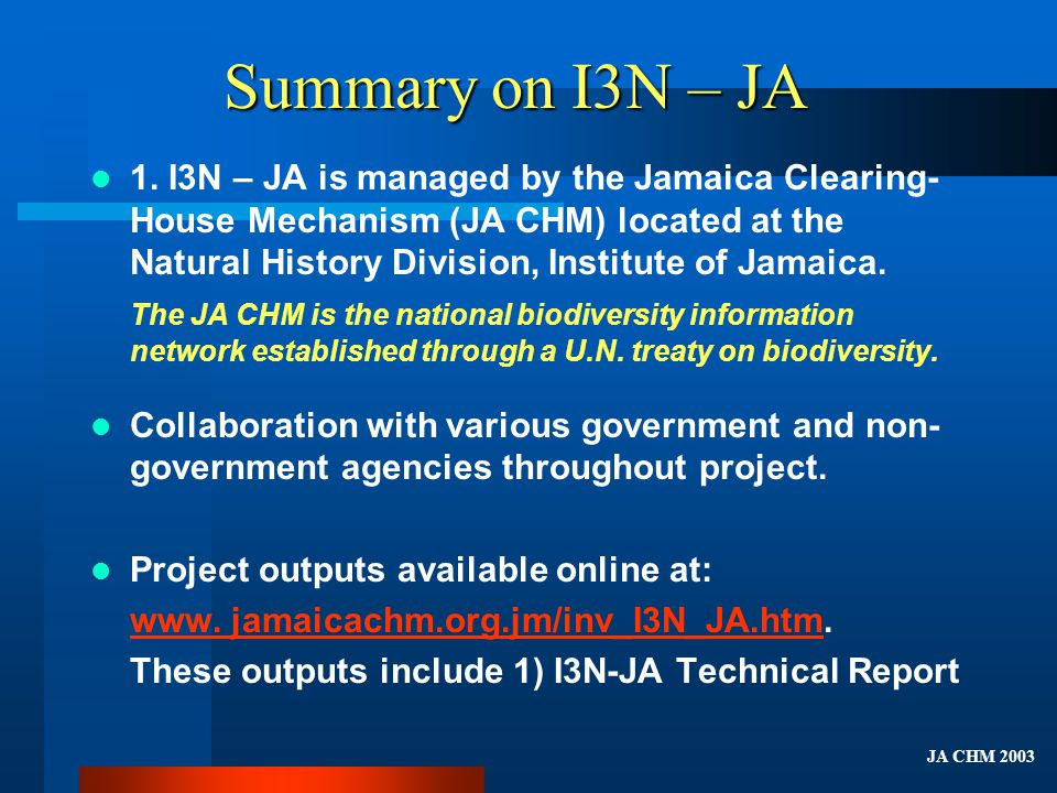 Summary on I3N – JA 1.