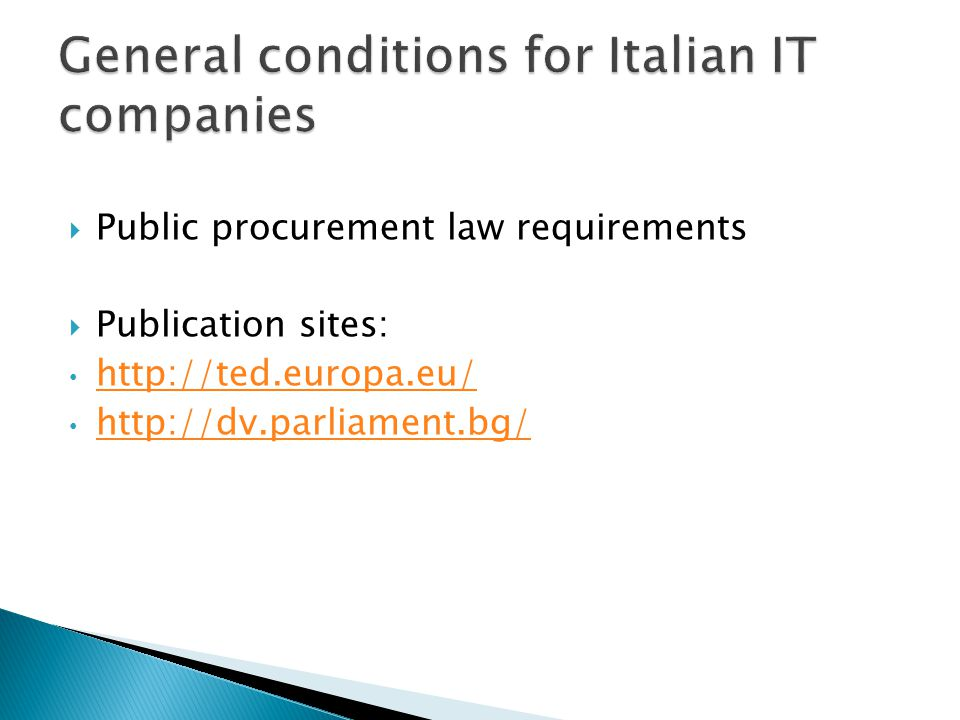 Public procurement law requirements Publication sites: