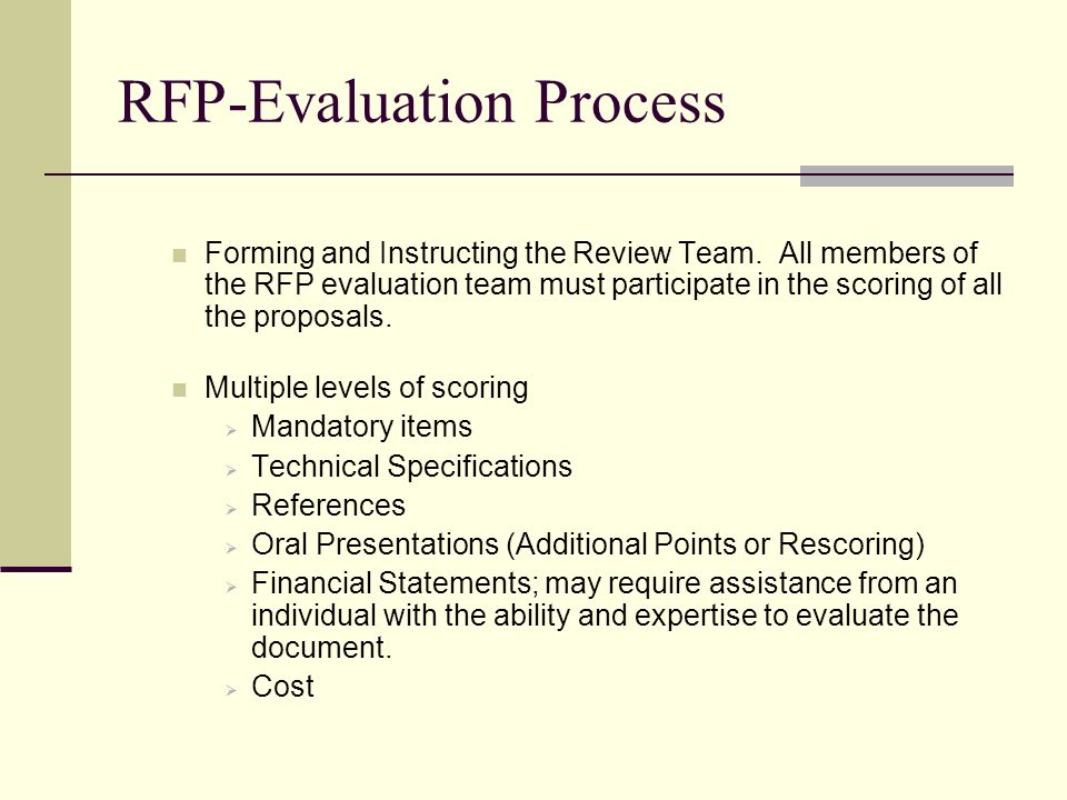 RFP-Evaluation Process Forming and Instructing the Review Team.