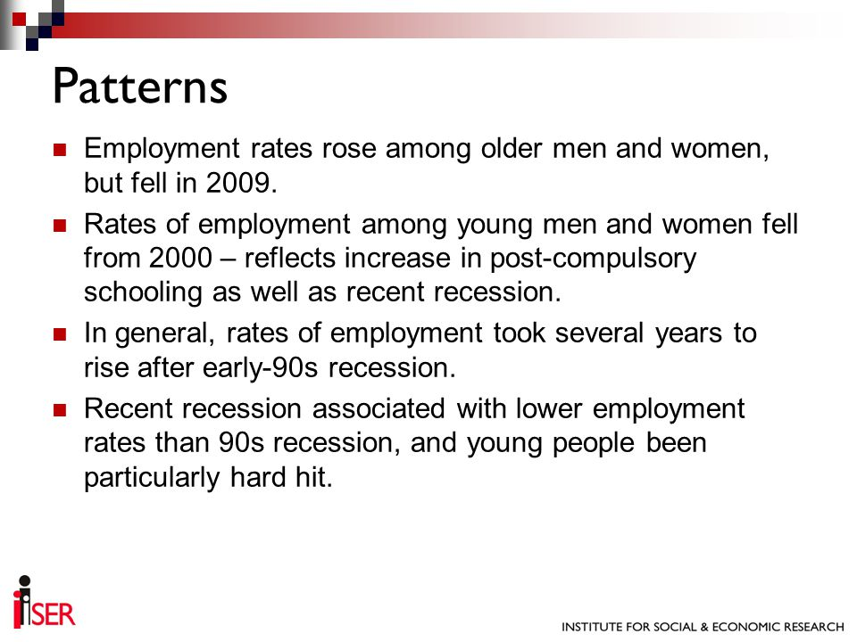 Employment rates rose among older men and women, but fell in 2009.