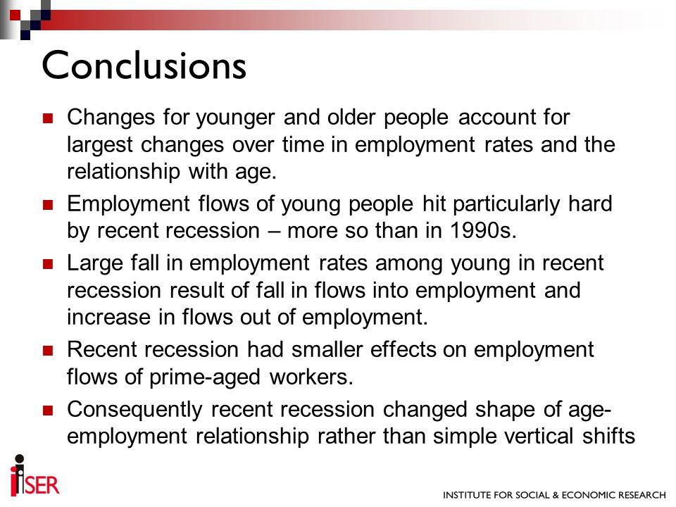 Changes for younger and older people account for largest changes over time in employment rates and the relationship with age.