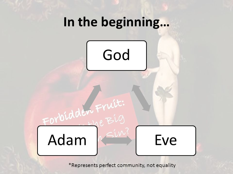 In the beginning… GodEveAdam *Represents perfect community, not equality