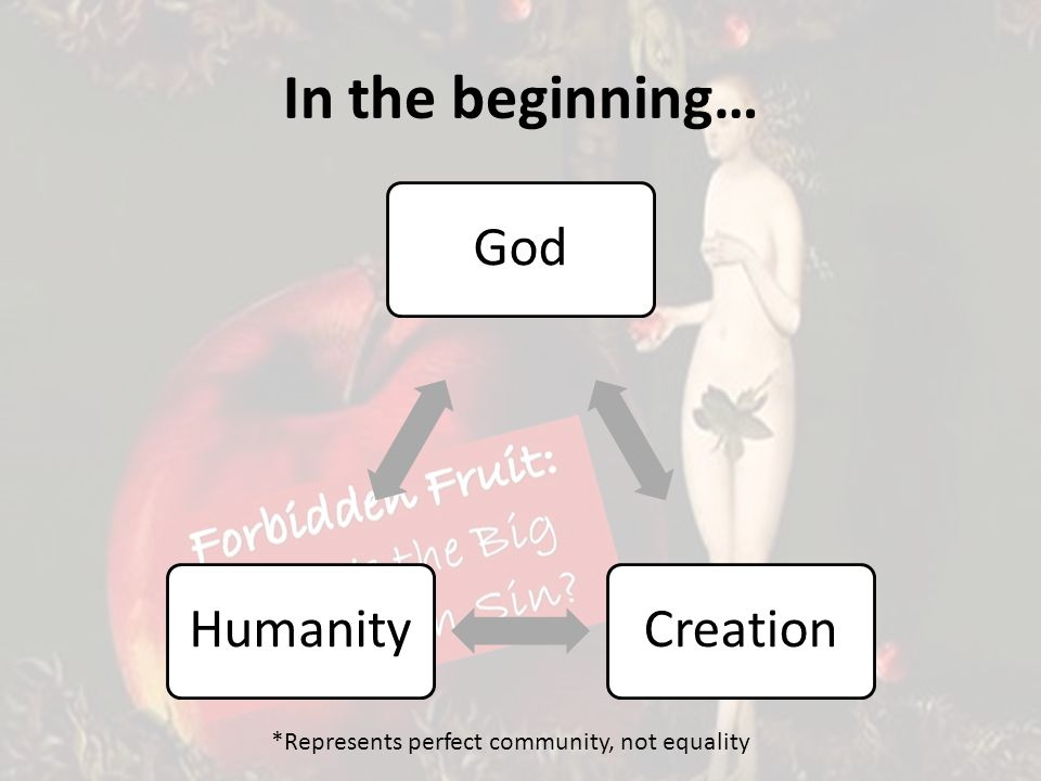 In the beginning… GodCreationHumanity *Represents perfect community, not equality