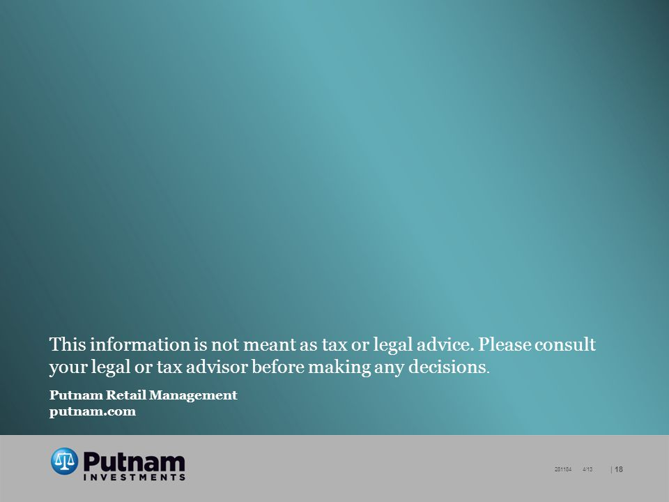 | /13 This information is not meant as tax or legal advice.