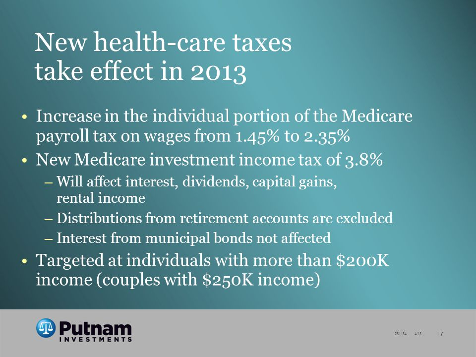 | /13 New health-care taxes take effect in 2013 Increase in the individual portion of the Medicare payroll tax on wages from 1.45% to 2.35% New Medicare investment income tax of 3.8% – Will affect interest, dividends, capital gains, rental income – Distributions from retirement accounts are excluded – Interest from municipal bonds not affected Targeted at individuals with more than $200K income (couples with $250K income)