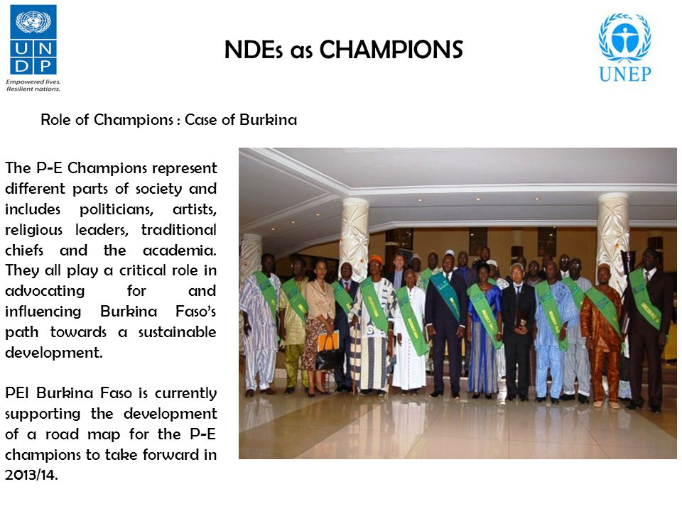 NDEs as CHAMPIONS Role of Champions : Case of Burkina The P-E Champions represent different parts of society and includes politicians, artists, religious leaders, traditional chiefs and the academia.