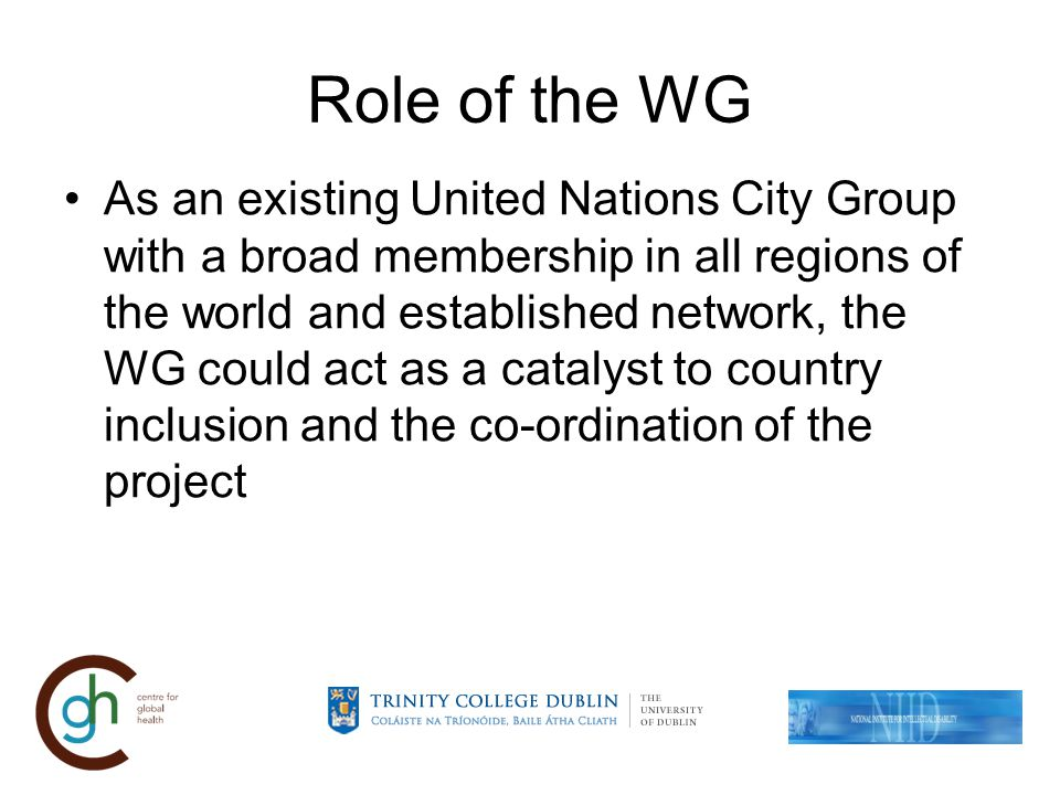 Role of the WG As an existing United Nations City Group with a broad membership in all regions of the world and established network, the WG could act as a catalyst to country inclusion and the co-ordination of the project