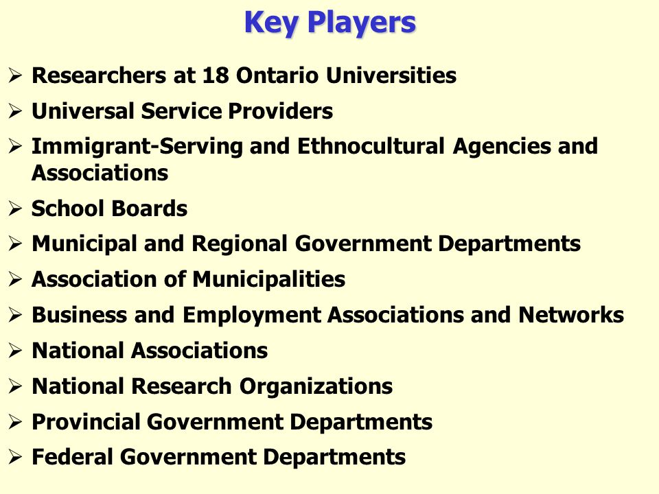 Key Players Researchers at 18 Ontario Universities Universal Service Providers Immigrant-Serving and Ethnocultural Agencies and Associations School Boards Municipal and Regional Government Departments Association of Municipalities Business and Employment Associations and Networks National Associations National Research Organizations Provincial Government Departments Federal Government Departments