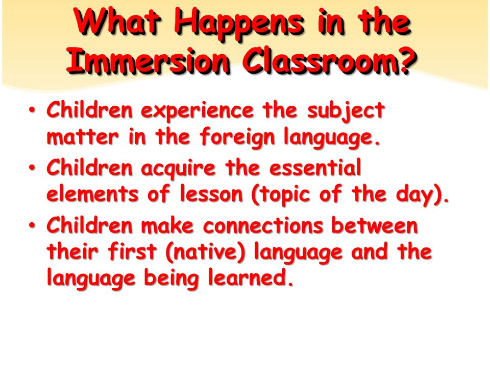 What Happens in the Immersion Classroom.