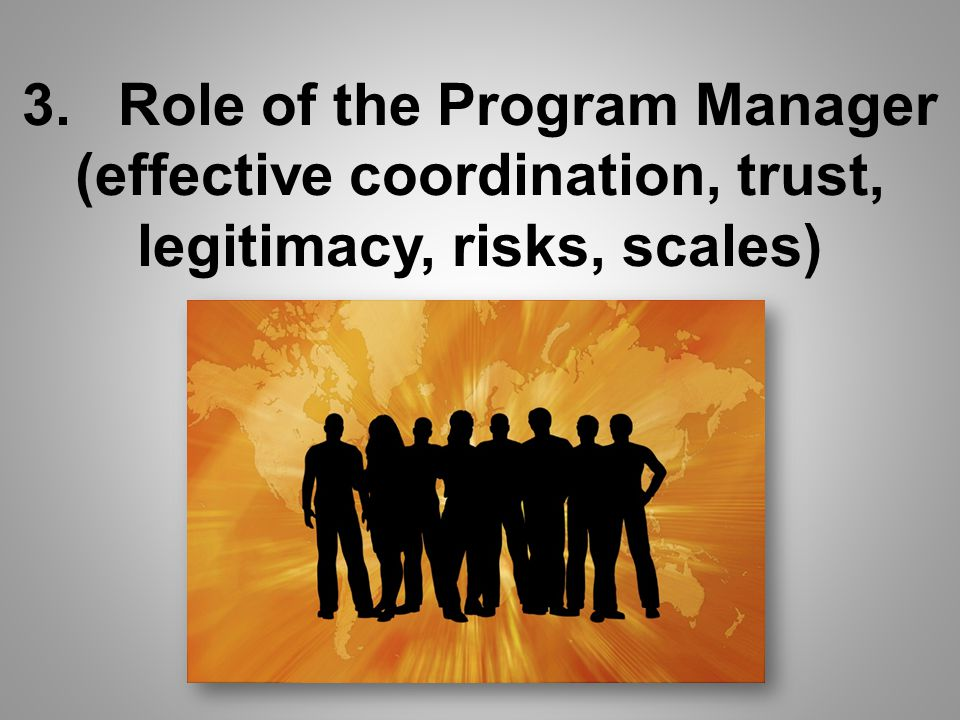 3.Role of the Program Manager (effective coordination, trust, legitimacy, risks, scales)