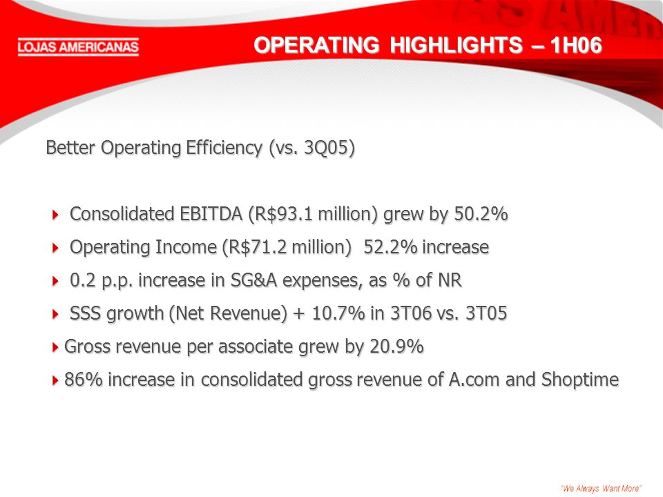 We Always Want More OPERATING HIGHLIGHTS – 1H06 Better Operating Efficiency (vs.
