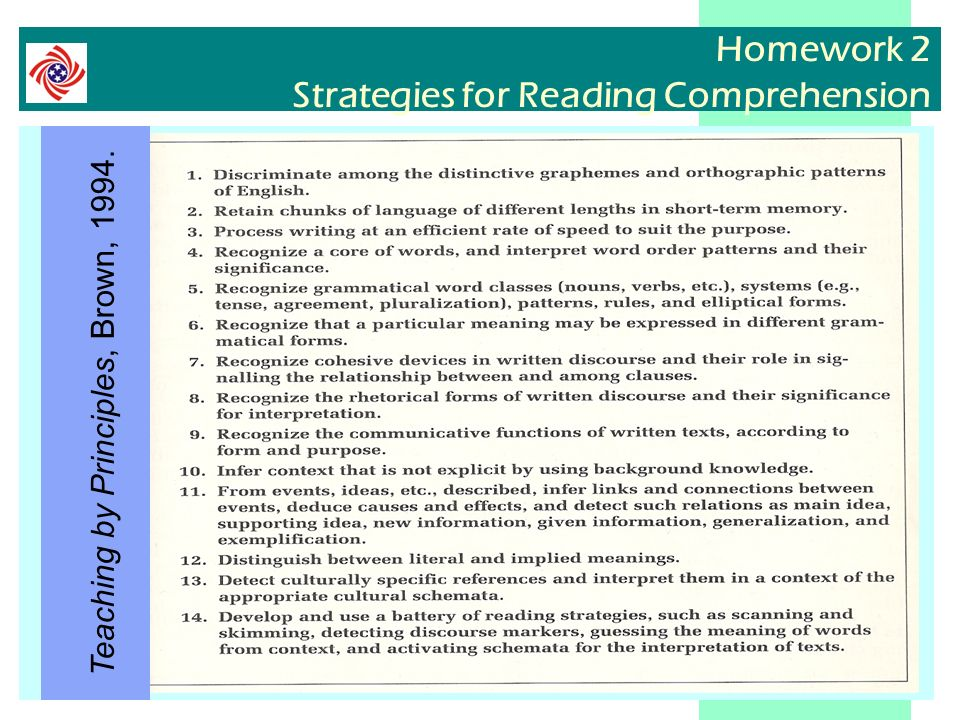 Homework 2 Strategies for Reading Comprehension Teaching by Principles, Brown, 1994.