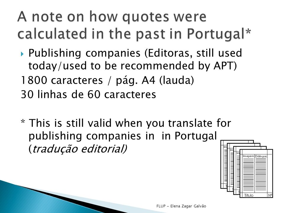 Publishing companies (Editoras, still used today/used to be recommended by APT) 1800 caracteres / pág.