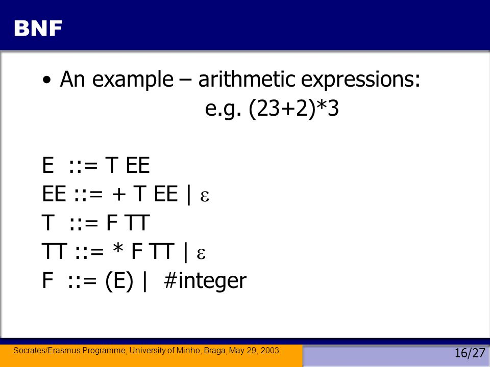 Socrates/Erasmus Programme, University of Minho, Braga, May 29, 2003 16/27 BNF An example – arithmetic expressions: e.g.