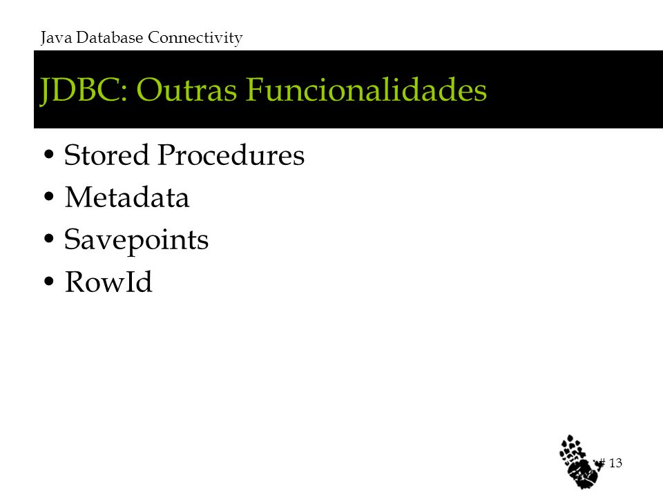 JDBC: Outras Funcionalidades Stored Procedures Metadata Savepoints RowId Java Database Connectivity # 13