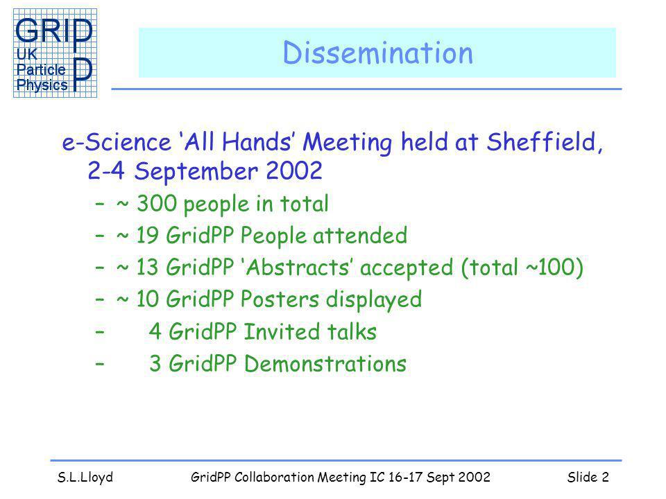 S.L.LloydGridPP Collaboration Meeting IC 16-17 Sept 2002Slide 2 Dissemination e-Science All Hands Meeting held at Sheffield, 2-4 September 2002 –~ 300 people in total –~ 19 GridPP People attended –~ 13 GridPP Abstracts accepted (total ~100) –~ 10 GridPP Posters displayed – 4 GridPP Invited talks – 3 GridPP Demonstrations