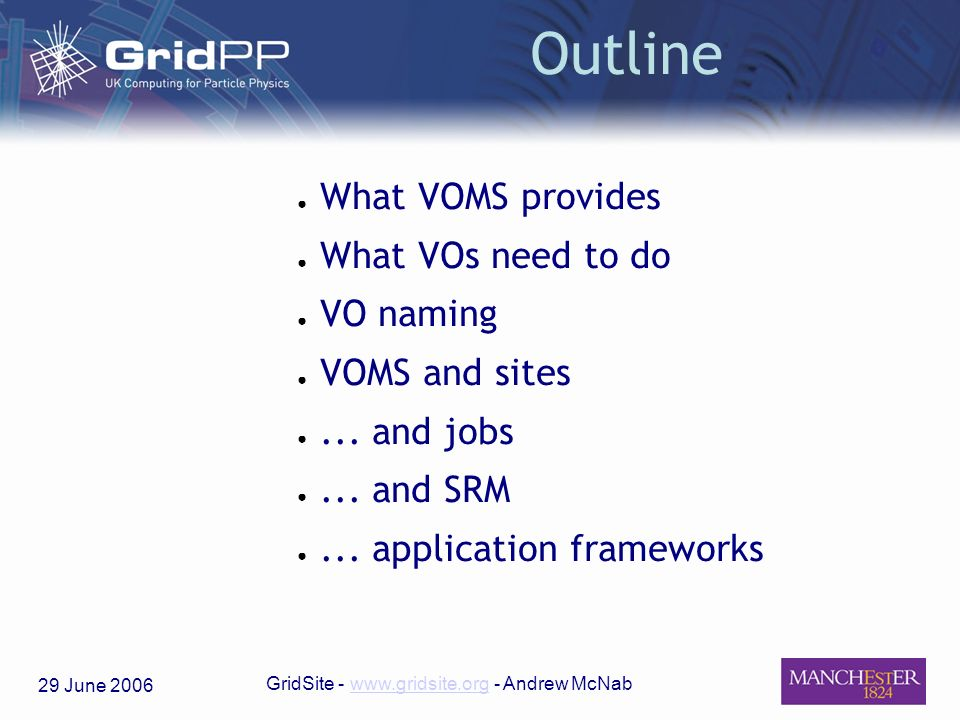 29 June 2006 GridSite - www.gridsite.org - Andrew McNabwww.gridsite.org Outline What VOMS provides What VOs need to do VO naming VOMS and sites...