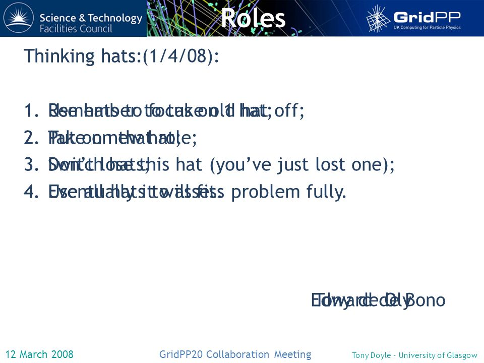 12 March 2008 GridPP20 Collaboration Meeting Tony Doyle - University of Glasgow Roles Thinking hats: 1.Use hats to focus on 1 hat; 2.Take on that role; 3.Switch hats; 4.Use all hats to assess problem fully.