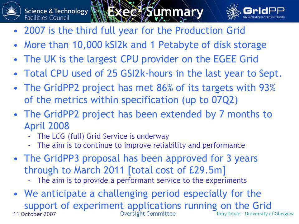 Tony Doyle - University of Glasgow Oversight Committee 11 October 2007 2007 is the third full year for the Production Grid More than 10,000 kSI2k and 1 Petabyte of disk storage The UK is the largest CPU provider on the EGEE Grid Total CPU used of 25 GSI2k-hours in the last year to Sept.