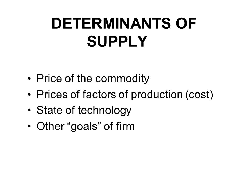 DETERMINANTS OF SUPPLY Price of the commodity Prices of factors of production (cost) State of technology Other goals of firm