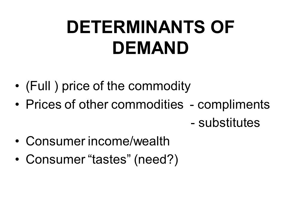 DETERMINANTS OF DEMAND (Full ) price of the commodity Prices of other commodities - compliments - substitutes Consumer income/wealth Consumer tastes (need )