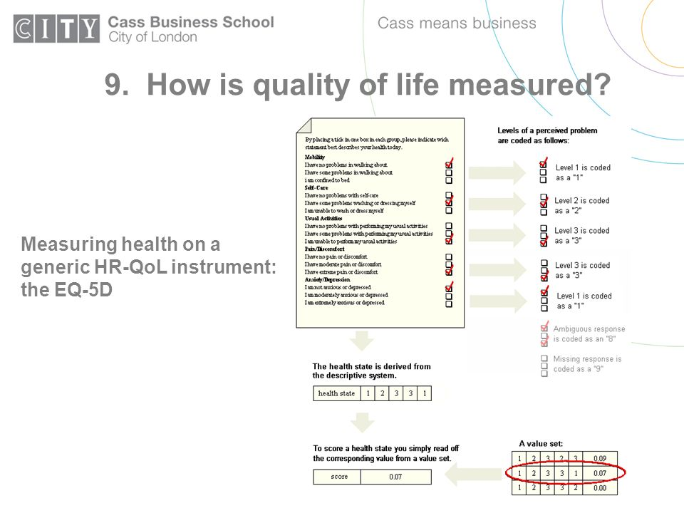 Measuring health on a generic HR-QoL instrument: the EQ-5D 9. How is quality of life measured