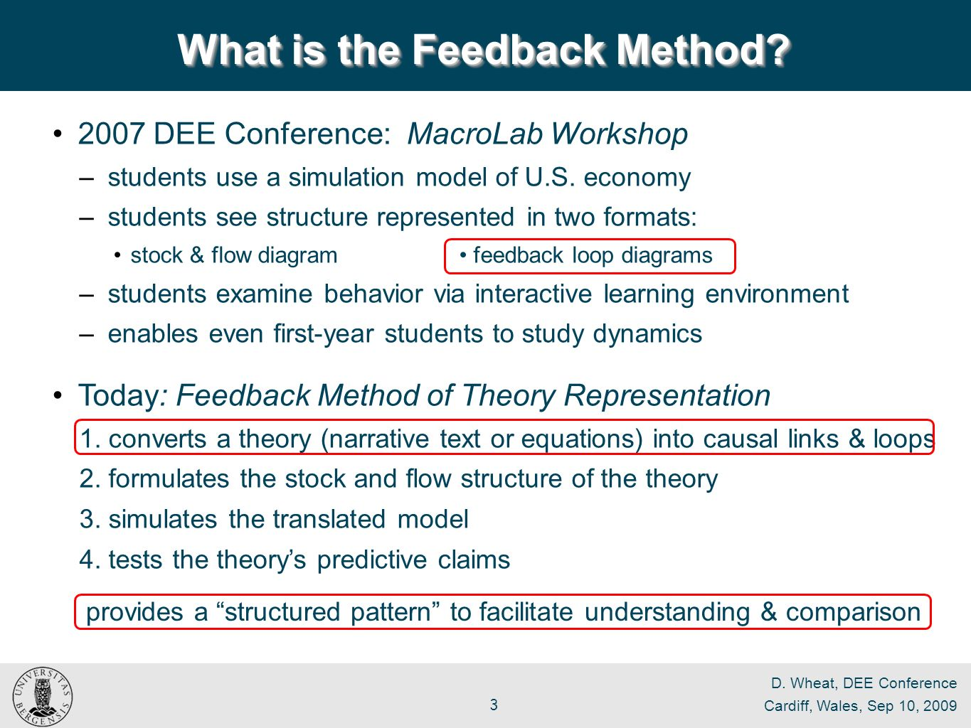 D. Wheat, DEE Conference Cardiff, Wales, Sep 10, 2009 3 What is the Feedback Method.