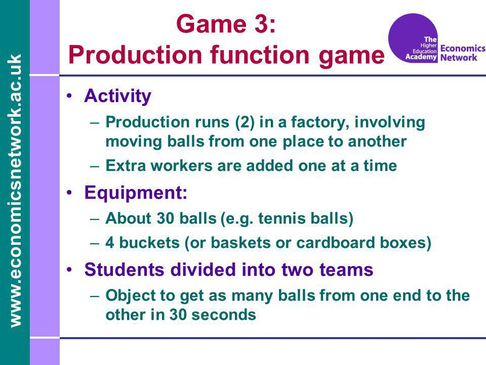www.economicsnetwork.ac.uk Game 3: Production function game Activity –Production runs (2) in a factory, involving moving balls from one place to another –Extra workers are added one at a time Equipment: –About 30 balls (e.g.