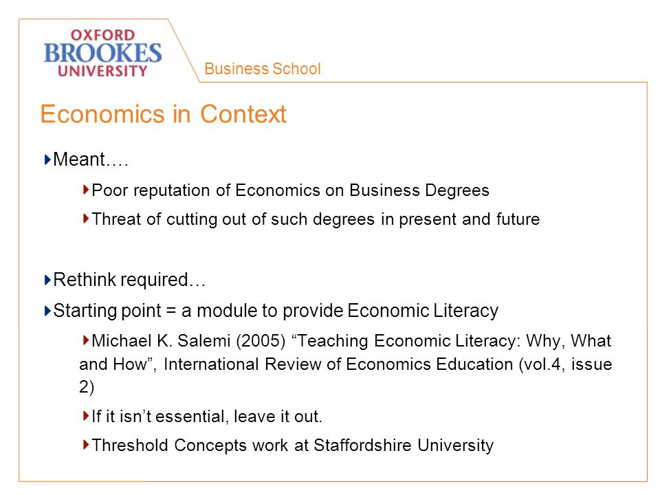 Business School Economics in Context Meant….