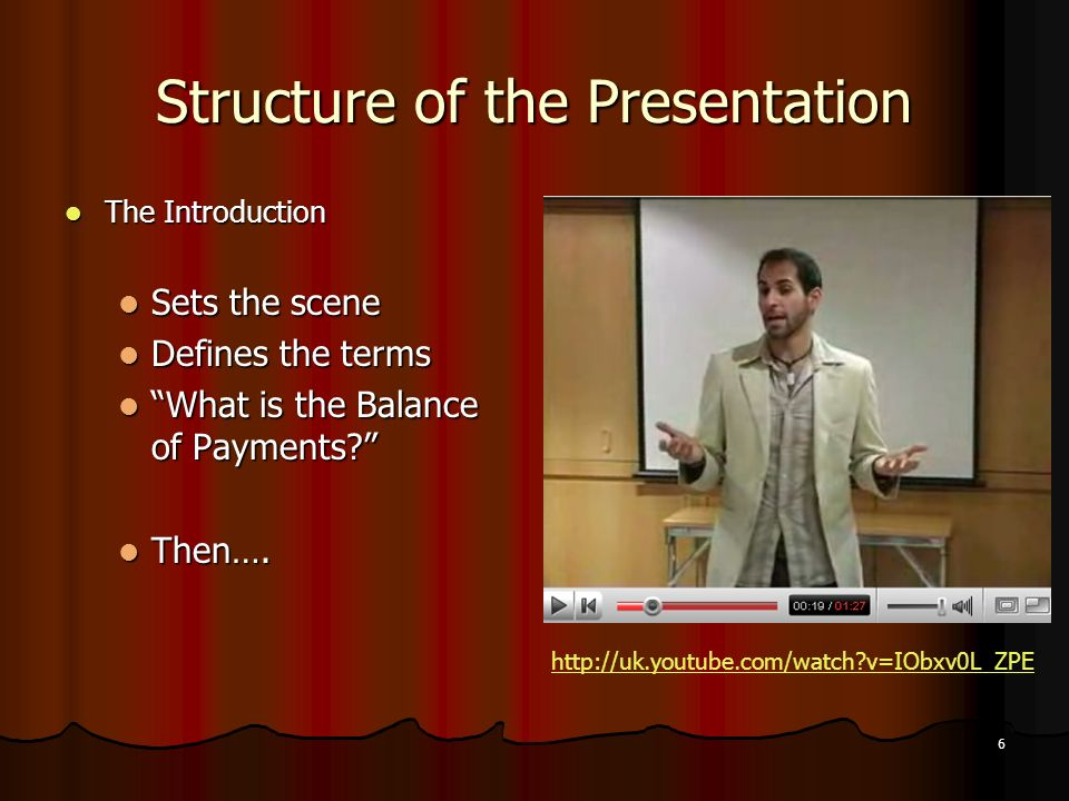 6 Structure of the Presentation The Introduction The Introduction Sets the scene Sets the scene Defines the terms Defines the terms What is the Balance of Payments.