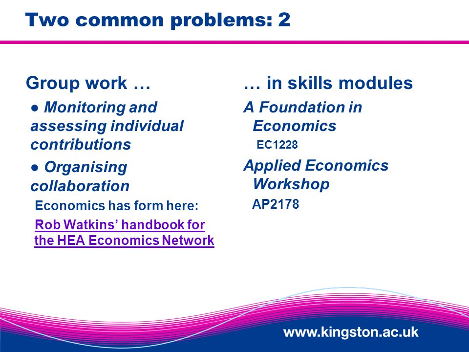 Two common problems: 2 Group work … Monitoring and assessing individual contributions Organising collaboration Economics has form here: Rob Watkins handbook for the HEA Economics Network … in skills modules A Foundation in Economics EC1228 Applied Economics Workshop AP2178