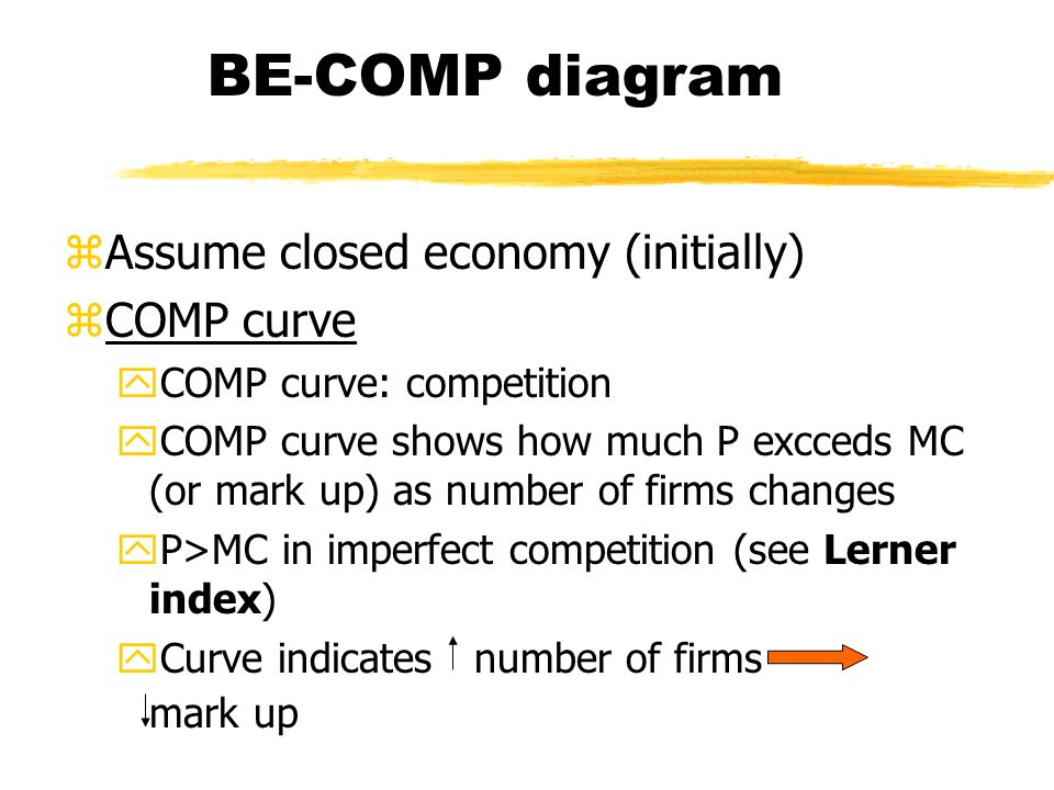 BE-COMP diagram zAssume closed economy (initially) zCOMP curve yCOMP curve: competition yCOMP curve shows how much P excceds MC (or mark up) as number of firms changes yP>MC in imperfect competition (see Lerner index) yCurve indicates number of firms mark up