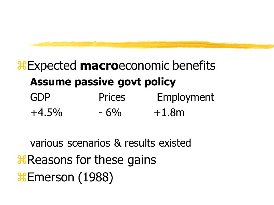 zExpected macroeconomic benefits Assume passive govt policy GDP Prices Employment +4.5%- 6%+1.8m various scenarios & results existed zReasons for these gains zEmerson (1988)