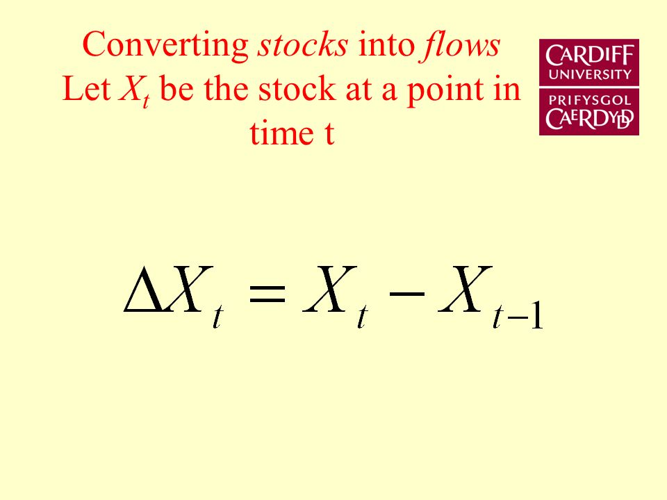 Stocks and Flows A stock is measured at a point in time Stock of assets, money, bonds, physical capital measured at 31 December 2007 Flows are measured over a period of time Examples of flows are GDP, Savings, Investment measured quarterly, or annually